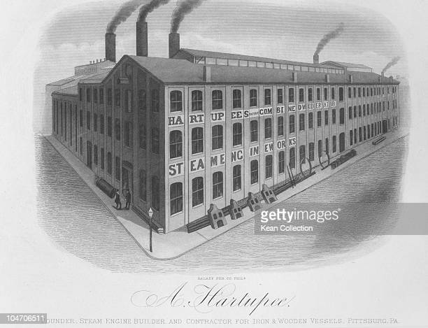 Illustration of the A Hartupee steam engine factory in Pittsburgh Pennsylvania circa 1880