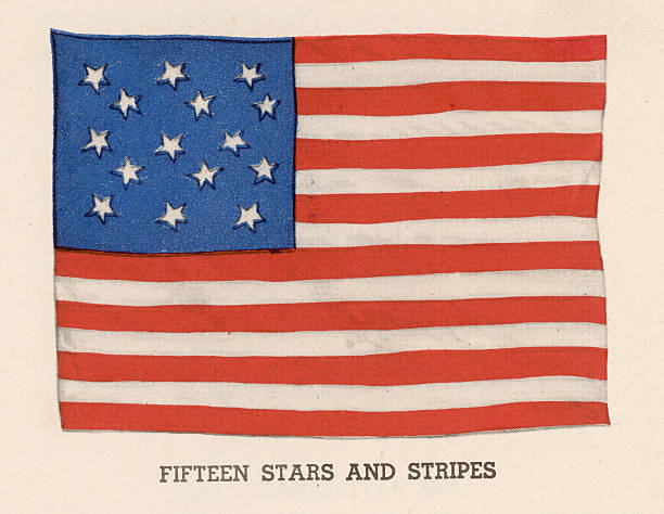 Illustration of the American flag adopted in 1794 featuring...