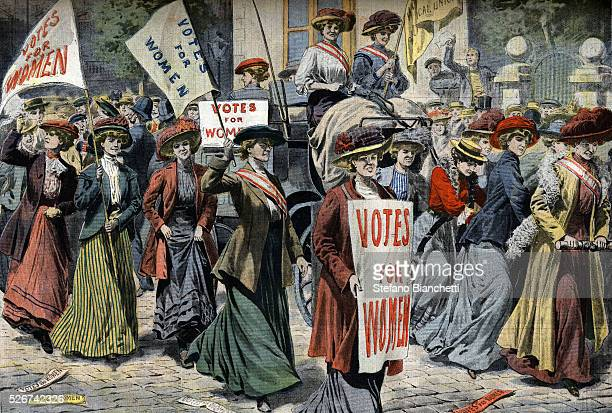 Illustration of the Arrival of the Suffragettes in London in September of 1908