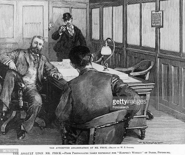 Illustration of the attempted assassination of Henry Frick circa 1830s