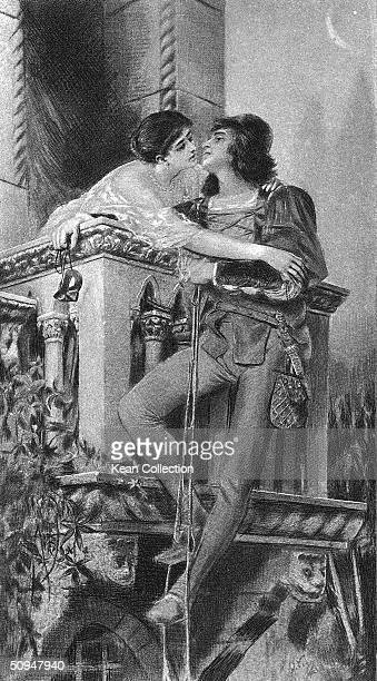 Illustration of the 'balcony scene' from William Shakespeare's 'Romeo and Juliet' shows the two title characters as they lean in for a kiss while...