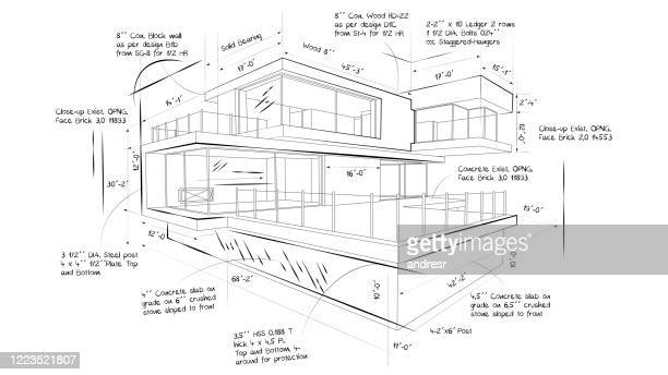 illustration of the blueprint of a beautiful modern house - sketch stock pictures, royalty-free photos & images
