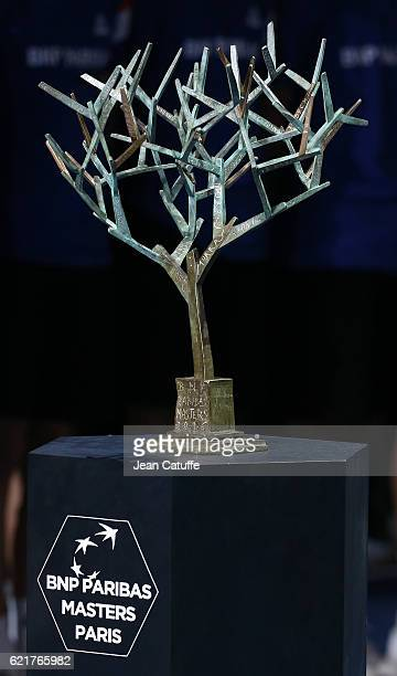 Illustration of the BNP Paribas Masters Paris trophy following the final of the Paris ATP Masters Series 1000 at AccorHotel Arena aka Palais...