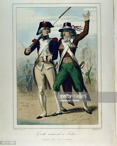Illustration of the Book 'History of the French during the Revolution' in 1843 representing a national and a Federate guard in France circa 1790