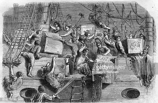Illustration of the Boston Tea Party