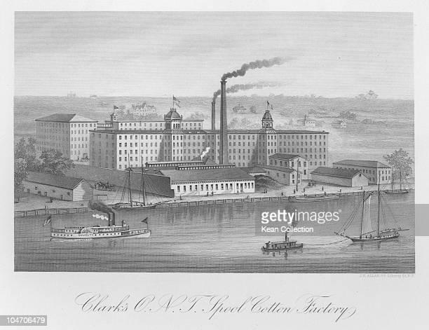 Illustration of the Clark's Spool Cotton factory circa 1880