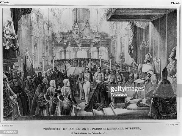 Illustration of the Coronation of Pedro I with caption 'CEREMONIE DE SACRE DE D PEDRO 1 EMPEREUR DU BRESIL a Rio de Janeiro le 1 Decembre 1822'...