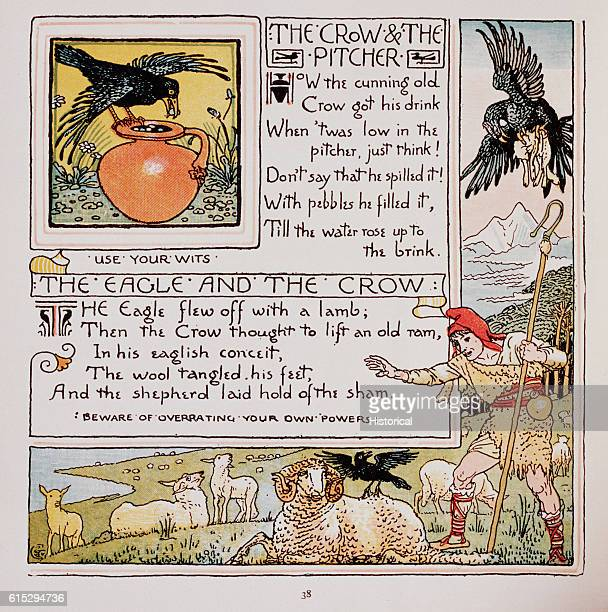 Illustration of 'The Crow and the Pitcher' and 'The Eagle and the Crow' From Walter Crane's Baby's Own Aesop
