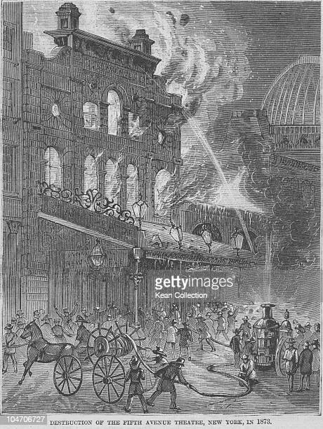 Illustration of the distruction of the Fifth Avenue theatre by fire in 1873