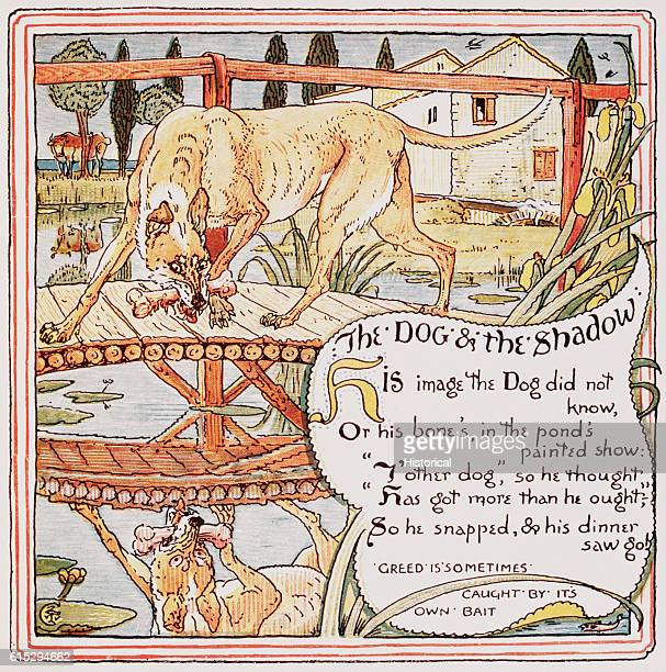 """Illustration of """"The Dog and the Shadow"""" From Walter Crane's, Baby's Own Aesop"""