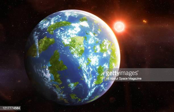 Illustration of the Earth-like exoplanet Proxima Centauri b orbiting the star Proxima Centauri, created on August 24, 2016.