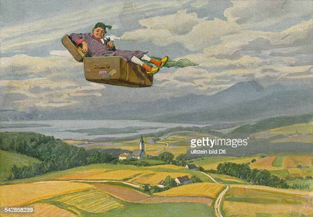 Illustration of the fairy tale 'Der fliegende Koffer' by Hans Christian Andersen Writer Denmark 1939