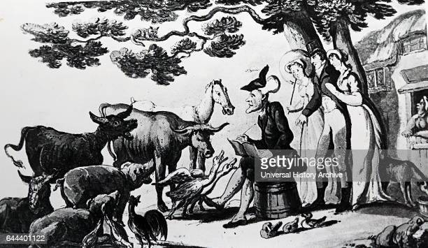 Illustration of the fictional character of Dr Syntax with the Squire his wife and sister accompanying him to the farmyard to sketch the animals Dr...