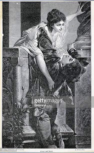 Illustration of the final death scene of William Shakespeare's play 'Romeo and Juliet' Undated illustration