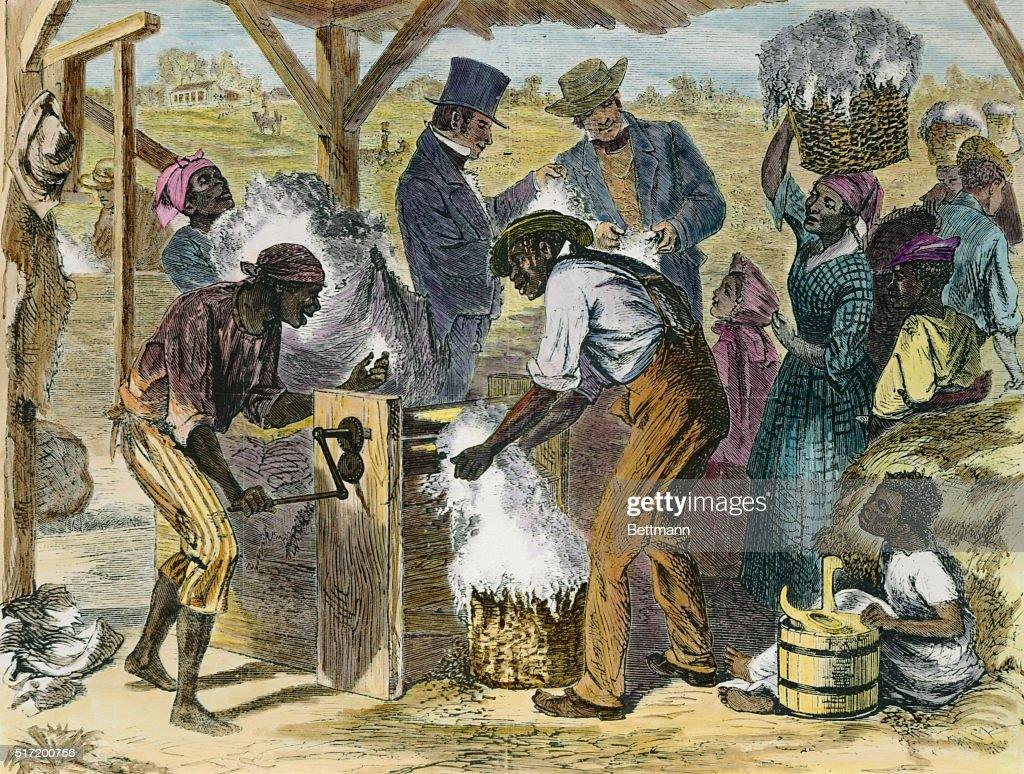 Slaves Using First Cotton Gin : News Photo