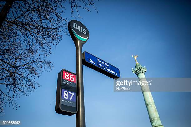 Illustration of the first intelligence bus stop fitted with a touch screen Paris 23th March 2015 in Bastille square