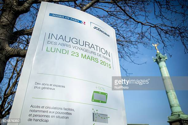 Illustration of the first intelligence bus stop fitted with a touch screen in Paris France on March 23 2015