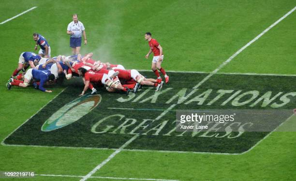 Illustration of the flag Guiness Six Nation during the Guinness Six Nations match between France and Wales at Stade France on February 01 2019 in...