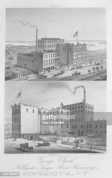 Illustration of the George Ehret's Hell Gate Brewery in New York City circa 1867