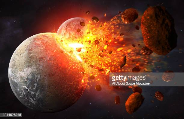 Illustration of the giant impact hypothesis, with the hypothetical planet Theia colliding with Earth 4.5 billion years ago, created on July 19, 2015....