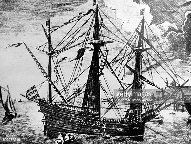 Illustration of the Golden Hind an English galleon best known for her circumnavigation of the globe between 1577 and 1580 captained by Sir Francis...