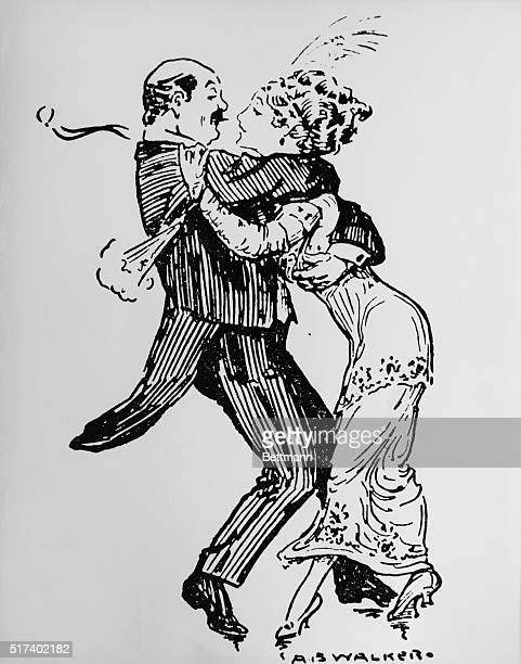 """Illustration of """"The Grizzly Bear"""", showing a man and a woman dancing in a tight """"bear hug"""" embrace. Undated illustration."""