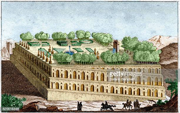 Illustration of the Hanging Gardens of Babylon, one of the seven wonders of the ancient world, from Histoire Ancienne by Charles Rollin .