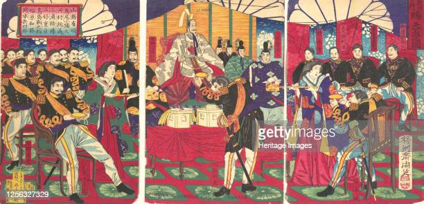 Illustration of the Honored Commanders, Receiving the Emperor's Gift Cup , September, 1877. Artist Chikanobu Yoshu.