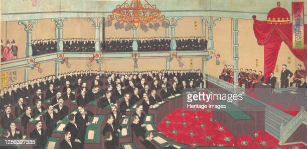 Illustration of The Imperial Assembly of the House of Peers 1890 Artist Chikanobu Yoshu