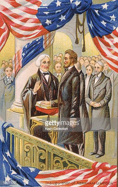 Illustration of the inaugural ceremonies for president Abraham Lincoln March 4 1861