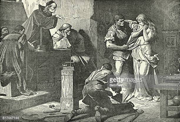 Illustration of the Inquisition in session, showng a judge accusing a young woman of being a witch, while a torturer strips her as another heats the...