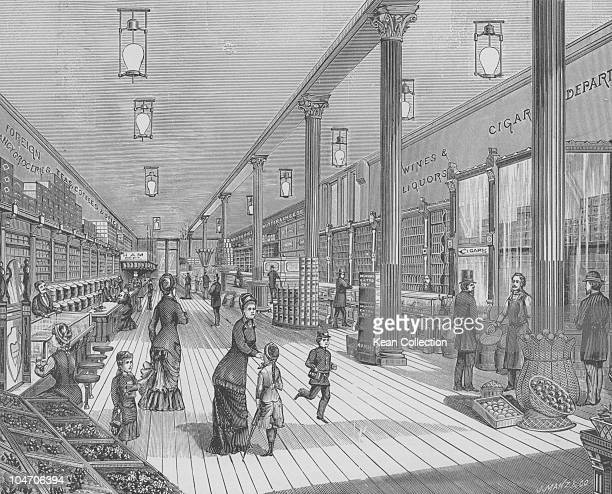 Illustration of the interior of a grocery store circa 1870