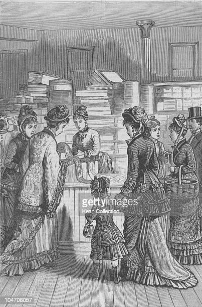 Illustration of the interior of E Ridley and Sons dry goods store in New York City in 1879