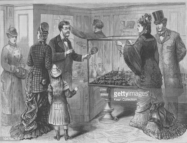 Illustration of the interior of Tiffany's jewellery store in New York City in 1879