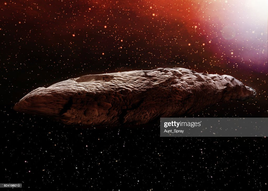 A 3D illustration of the interstellar object known as Oumuamua. Originally classified as an asteroid, Oumuamua is an object estimated to be about 230 by 35 meters (800 ft x 100 ft) in size, travelling through our solar system. : Stock Photo