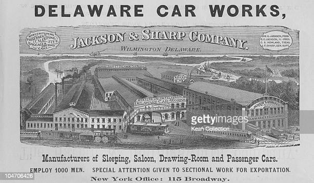 Illustration of the Jackson and Sharp Company rail car works in Wilmington Delaware circa 1880