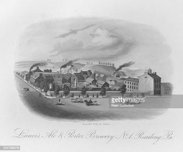 Illustration of the Lauer Ale and Porter brewery near Reading Pennsylvania circa 1860