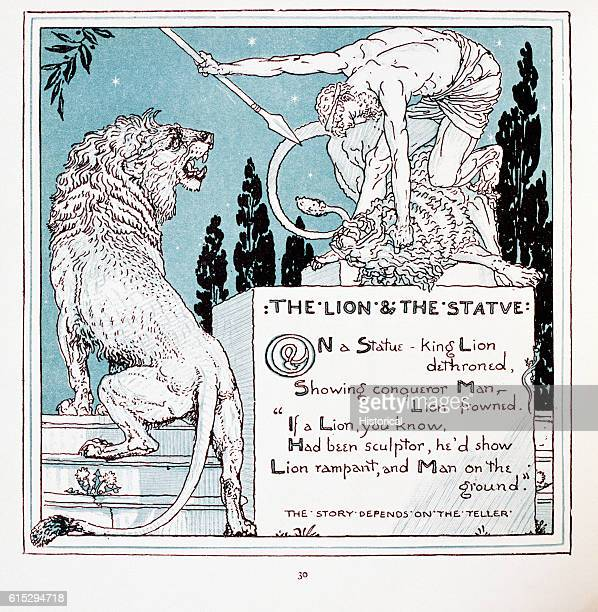Illustration of 'The Lion and the Statue' From Walter Crane's Baby's Own Aesop
