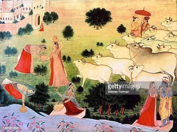 Illustration of the meeting of Krishna and Radha on the bank of the sacred river Jamuna or Brahmaputra India Hindu 1775 Garhwal
