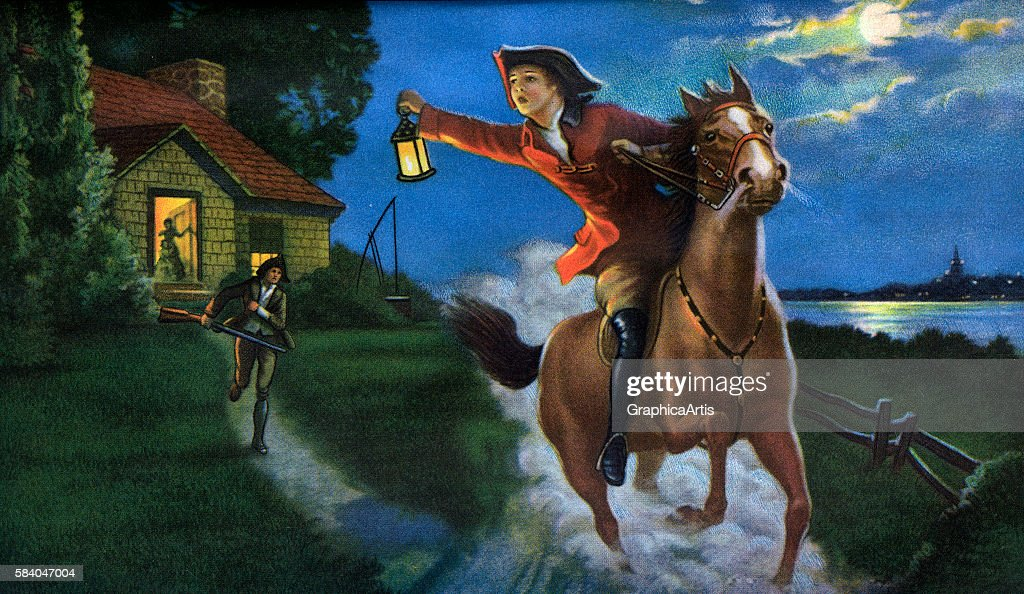Illustration of the Midnight Ride of Paul Revere in 1775, 1938. Screen print.