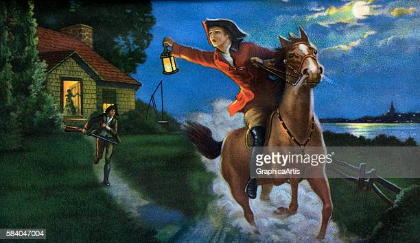 Illustration of the Midnight Ride of Paul Revere in 1775 1938 Screen print
