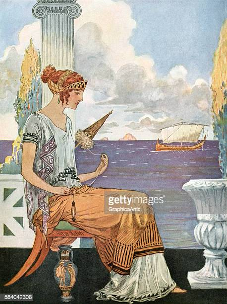 Illustration of the myth of Ariadne's Thread from Greek Mythology 1929 Screen print