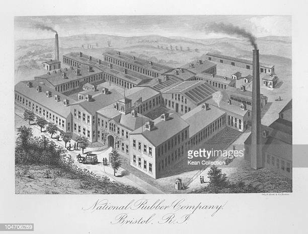 Illustration of the National Rubber Company factory in Bristol Rhode Island circa 1880
