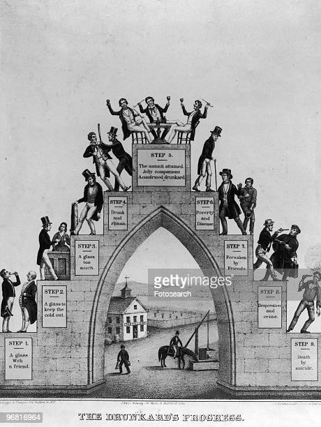 Illustration Of The Nine Steps Of The Drunkard's Progress an image used by The Temperance Movement with the steps arching up through stages of...