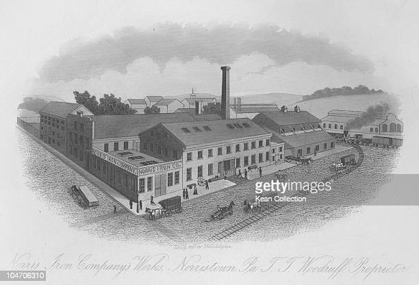 Illustration of the Norris Iron Company works in Norristown Pennsylvania circa 1860