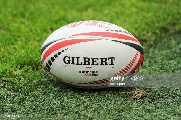 Illustration of the official HSBC World Series ball during the match between South Africa and Spain at the HSBC Paris Sevens stage of the Rugby...