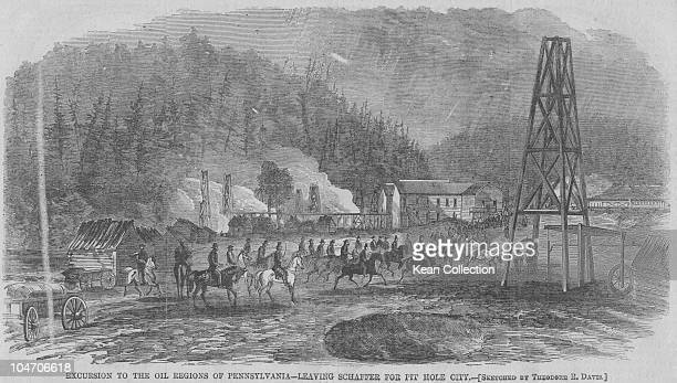 Illustration of the oil regions of Pennsylvania Leaving Schaffer fot Pithole City circa 1865