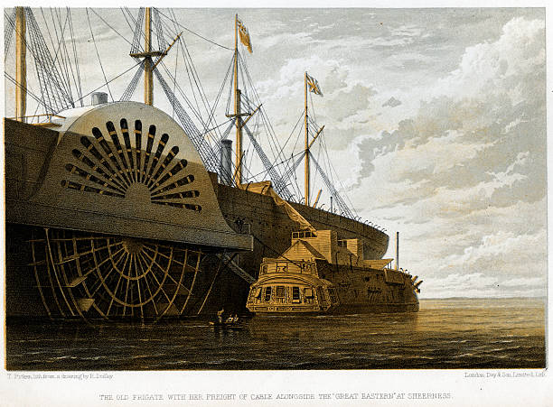 Illustration of the old frigate Iris with her freight...