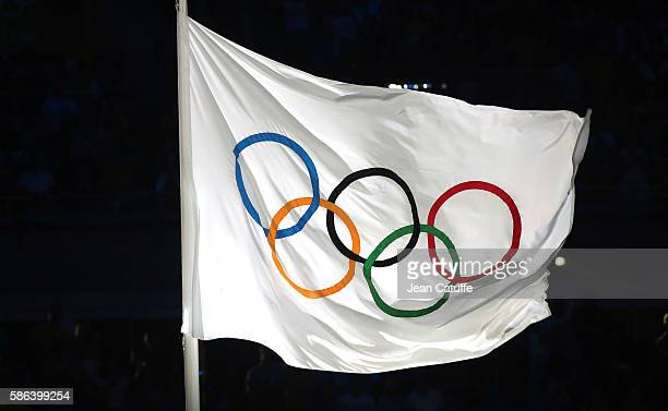 Illustration of the Olympic flag during the opening ceremony of the 2016 Summer Olympics at Maracana Stadium on August 5 2016 in Rio de Janeiro Brazil