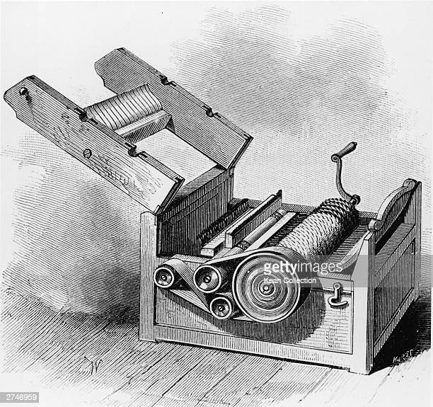 Illustration of the original model of Eli Whitney's cotton gin circa 1800